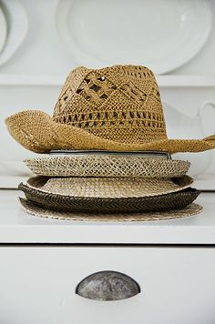 Straw hats for the pool house