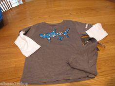 Hurley youth 5 long sleeve t shirt hat beanie charcoal bandaged shark surf skate