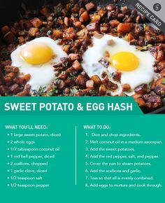 Potato-based breakfasts may bring hash browns and home fries to mind, but they can actually be... #breakfast #healthy #recipes http://greatist.com/eat/recipes/sweet-potato-and-egg-breakfast-hash