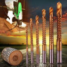 6pcs Professional Titanium Coated HSS Drill Bit Electric Drill Plastic Metal Hole Grooving Drill Saw Carpenter Woodworking Tools