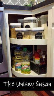 ideas kitchen pantry cabinet organisation lazy susan for 2019 Kitchen Pantry Design, Kitchen Pantry Cabinets, Kitchen Ideas, Kitchen Corner, Kitchen Stuff, Kitchen Tips, Corner Cupboard, Kitchen Craft, Kitchen Drawers