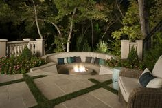 Sunken Firepit with circular seating - the perfect spot for a summer night! | Platinum Series Homes by Mark Molthan