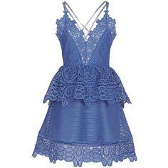 Self Portrait Lace Peplum Mini Dress ($540) ❤ liked on Polyvore featuring dresses, v-neck dresses, lace peplum dress, peplum dress, blue mini dress and circle skirt