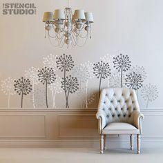 Allium Stencil for wall decor from The Stencil Studio. Size S/A4 8 x 25.5 cm (3 x 10 inches). £7.20, via Etsy.
