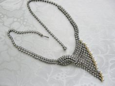 Vintage Clear Rhinestone Faux Pearls by PhylmasFabulousFinds - $32.00