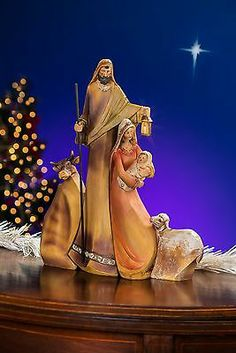 MIRACLE IN BETHLEHEM ARTISAN CARVED OLIVE WOOD STYLE POLYSTONE HEIRLOOM NATIVITY