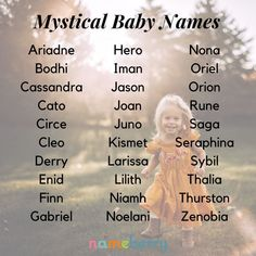 Mystical Baby Names - Baby Showers Top 20 baby names for 2019 boy. - Mystical Baby Names – Baby Showers Top 20 baby names for 2019 boy… , Unisex Baby Names, Cute Baby Names, Pretty Names, Baby Girl Names, Boy Names, Names For Babies, Nature Names For Girls, Unique Names For Boys, Most Unique Baby Names