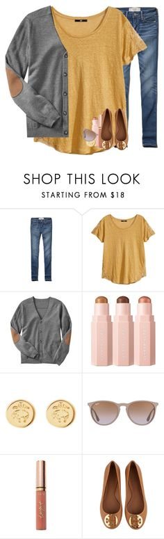 """🌻🌻"" by madelinelurene ❤ liked on Polyvore featuring Abercrombie & Fitch, H&M, Gap, Brooks Brothers, Ray-Ban, tarte and Tory Burch"