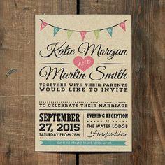 Vintage Bunting Kraft Wedding Invitation