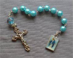 Our Lady of Grace  8mm Blue Pearl Glass One by JaysReligiousGifts