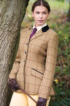 Equetech Wheatley Deluxe Tweed Riding Jacket | Burgundy/Canary box check design, velvet collar, jacquard lining, zip pockets, double back vents