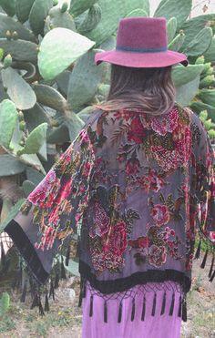 Rose Potion Velvet Burnout Tassel Kimono - Saltwater Gypsy