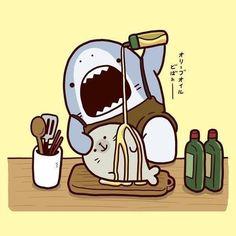 Kawaii Doodles, Cute Kawaii Drawings, Cartoon Drawings, Kawaii Wallpaper, Animal Wallpaper, Cartoon Wallpaper, Giraffe Illustration, Cute Illustration, Cute Shark
