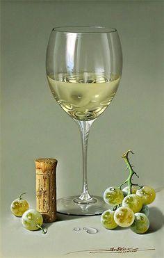 White Wine Uncorked Straight From The Fridge ~ Artist: Javier Mulio