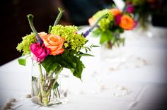 Very simple colorful centerpieces