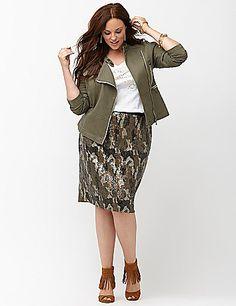 Lane Bryant Olive peplum jacket