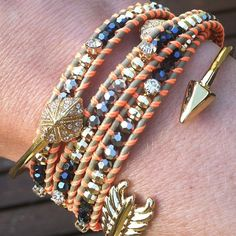 """Loving the look of the """"Wanderlust"""" Bracelet paired with the """"Gilded Arrow"""" and """"Eden"""" Bracelets!  www.stelladot.com/wendyayer"""