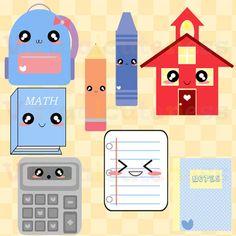 Cute School Clipart  Stationary Clip Art School por Virtualcuteness