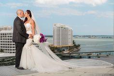 "#janelleandstevetakemiami ""Miami Skyline"" Photo: Tom Couture Weddings Dress & Veil: Custom Galia Lahav Floral: Rodri Creations Wedding Coordinator: Catalan Productions"
