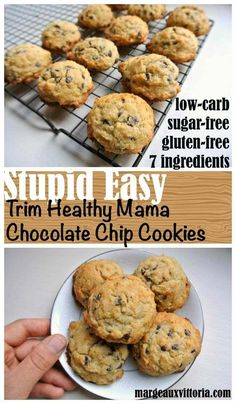 Easy Trim Healthy Mama Chocolate Chip Cookies Easy cookies for busy seasons of life! Easy Trim Healthy Mama Chocolate Chip Cookies Easy cookies for busy seasons of life! Sugar Free Recipes, Ketogenic Recipes, Ketogenic Diet, Low Carb Recipes, Cooking Recipes, Trim Healthy Recipes, Healthy Cookie Recipes, Cooking Pork, Sugar Free Desserts