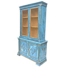 Italian Breakfront in Mediterranean Blue | From a unique collection of antique and modern cupboards at https://www.1stdibs.com/furniture/storage-case-pieces/cupboards/