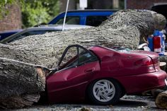 A downed tree lies atop a crushed car in Philadelphia. About 228,000 homes and businesses across Pennsylvania remain without power after severe thunderstorms raced across the state.