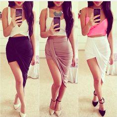 "ON SALE NOW! ONLY $22! asymmetrical skirt + crop top ♥ ♥ ♥ ""Surf Break"" Or ""Harbor"" skirt"