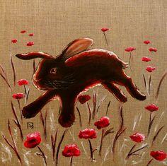 "Painting ""Black Rabbit"" by Nadine Reifenberger, acrylic on canvas board, 40 x 40 cm"