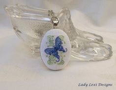 Cross Stitch Pendant - Blue Butterfly - Hand Embroidered Necklace