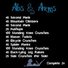 20 minute Ab and Arm workout from my blog. OperationSkinnyDiva
