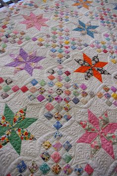 @ Quilts on Bastings: Vintage Le Moyne Star Quilt - quilted with longarm machine quilting by Karen Machine Quilting Patterns, Longarm Quilting, Quilting Projects, Quilting Designs, Quilt Patterns, Crazy Quilting, Quilting Ideas, Crazy Patchwork, Modern Quilting