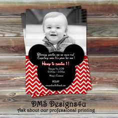 Mickey Mouse Inspired Photo Birthday Invitation  DIY Printing or Printing Services are Available. $10.95, via Etsy.