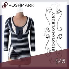 Anthropologie Pilcro Letterpress Navy Sailor Top ➖BRAND : Anthropologie ➖SIZE:XS  ➖STYLE: pilcro and letterpress navy sailor striped top. The stripes hit in the perfect places at the perfect angle. Stripes always worry me but these make for a flattering figure!   ❌NO TRADE  vneck v-neck Anthropologie Tops Tees - Long Sleeve