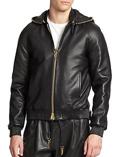 Giuseppe Zanotti Leather Chain Link Hoodie