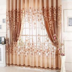 Readymade garden curtain, blackout coffee cortinas windows drapes + volie sheer curtains for bedroom lot) Thick Curtains, Cheap Curtains, Luxury Curtains, Home Curtains, Curtains Living, Curtain For Door Window, Window Curtains, Room Window, Cortina Floral