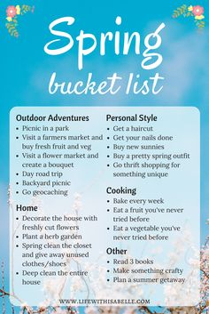 Spring is definitely my favourite season! Flowers are in bloom, there's beautiful weather (not too hot, not too cold), and I'm a spring baby so my birthday's coming up too :) Here's my Spring bucket list! // Life With Isabelle Bucket List Quotes, Bucket List Life, Life List, Bucket List For Teens, Summer Bucket Lists, Spring Activities, Fun Activities, Fee Du Logis, Winter Girl
