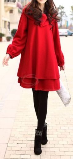 Winter Red - floating sleeves, Loose fitting  Overcoat.  dresslily.com