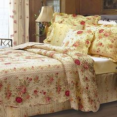 The August Grove Abbigail Bonus Quilt Set is the perfect addition for a rustic or country cottage themed bedroom. This quilt set is decorated with a cluster of floral arrangements against a cream colored background. The quilt can be used on its reversed side for a different look, which has a striped pattern. The scalloped edges add to the decorative appeal of it, and also helps keep it clean.<br/><br/>As part of the Abbigail collection this quilt set includes a quilt, tw...