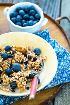 Lemon Blueberry Granola - with hemp seeds, dried blueberries, bran flakes, puffed millet and oats