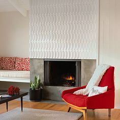 white tile fireplace Handmade tiles can be colour coordinated and customized re. shape, texture, pattern, etc. by ceramic design studios