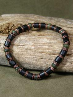Mens Bracelet - Black Bracelet - Mans Jewelry - Stretch Bracelet - Wood Bracelet…