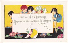 EASTER vintage postcard Sincere Easter Blessings Poem, Children watching white rabbit, Flowers by sharonfostervintage on Etsy