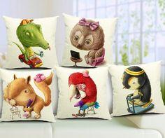 Elephant pillow cover, cartoon animal owl elephant Parrot Squirrel crocodile Penguin cotton linen throw pillow case #Affiliate