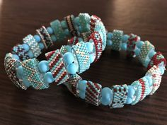 Two bracelets with carrier beads
