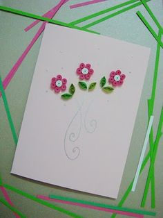 Lin Handmade Greetings Card: Paper quilling flowers....