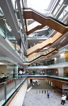 Glamorous and exciting architecture inspiration. See more luxurious interior design details at luxxu.net Brisbane Architecture, University Architecture, Stairs Architecture, Interior Architecture, Food Court Design, Commercial Architecture, Staircase Design, Shopping Mall Interior, Retail Interior