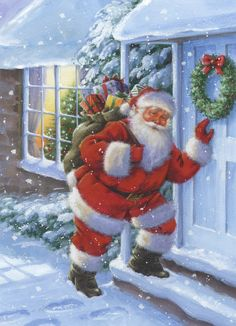Christmas Scenes, Christmas Animals, Father Christmas, Santa Christmas, A Christmas Story, Xmas, Christmas Paintings On Canvas, Christmas Illustration, Vintage Christmas Cards