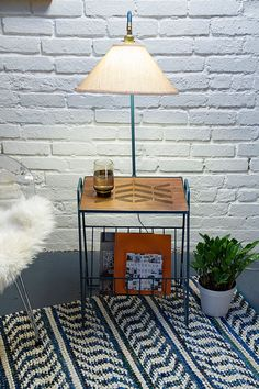 Revived Vintage Metal Side Table And Lamp Combo Magazine Rack Solid Walnut  Top With