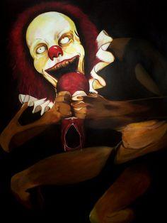 Tittle: Clown Devouring his shoe / Clown Food    Artist: Michael Bassick    Description:   A Transcription of Francisco Goya's painting Saturn Devouring his Son.    Acrylic on stretched paper.