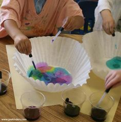 Eye Dropper Art - Children use eyedroppers to drop liquid watercolor onto a coffee filter or paper towel. (I use Colorations Liquid Watercolor from Discount School Supply.) If liquid watercolor is not available, you can color water with food color.